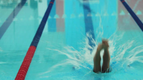 swimmer at the start Stock Video Footage