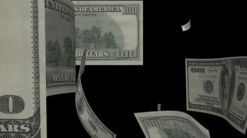 $100 Dollar Bills Flying Animation