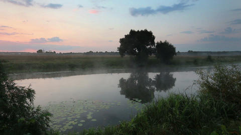 dawn at lake - landscape Stock Video Footage