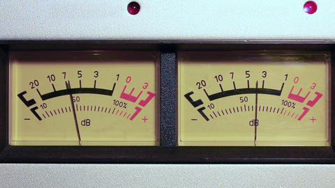 stereo decibel meters - part of sound equipment Footage