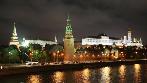 Moscow Kremlin river at night - timelapse Stock Video Footage