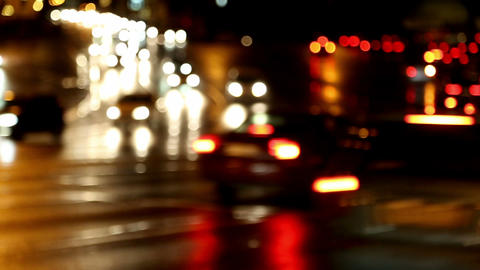 defocused evening car traffic at rush hour - timel Stock Video Footage