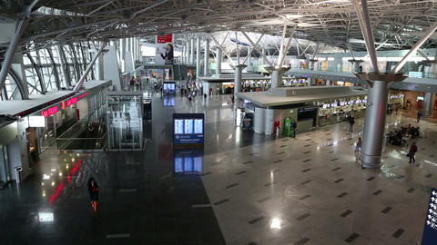 Vnukovo airport terminal interior in Moscow Russia Footage