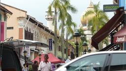 A busy street near Sultan Mosque, Singapore.(SINGA Stock Video Footage