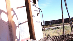Caboose Boarding Steadycam FPV Stock Video Footage