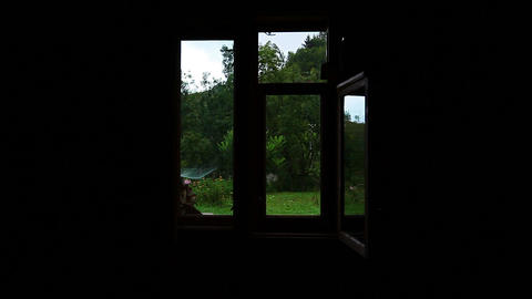 view from the house - the rainy weather Stock Video Footage