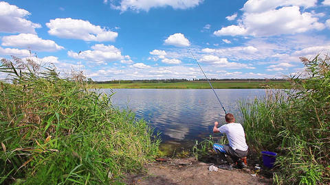 fishing - timelapse Stock Video Footage