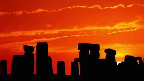 Stonehenge at Sunset Stock Video Footage