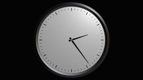 12 hours wall clock with alpha Stock Video Footage