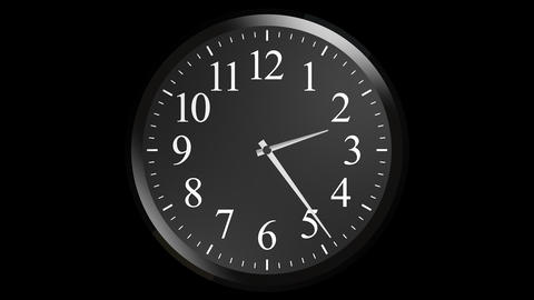 black wall clock with alpha Stock Video Footage