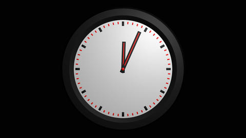3D clock animation with alpha Stock Video Footage
