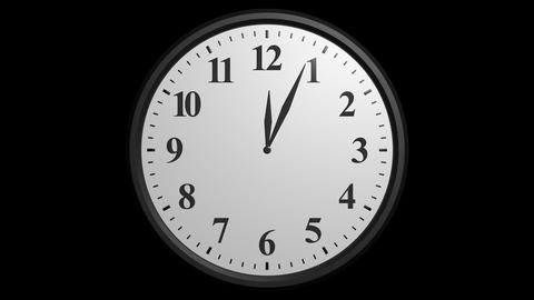 12 hours clock cycle with alpha Stock Video Footage