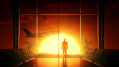 Sunrise at airport Animation