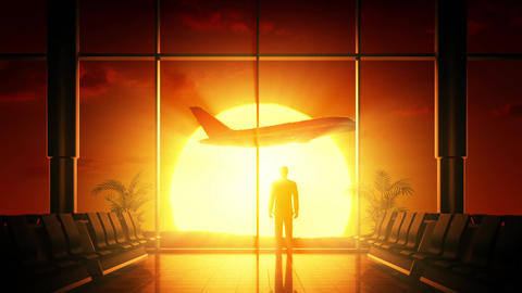 Sunrise at airport Stock Video Footage