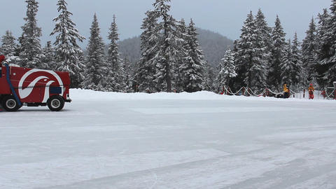 Outdoor Mountain Skating Rink Being Cleaned By Zam Stock Video Footage