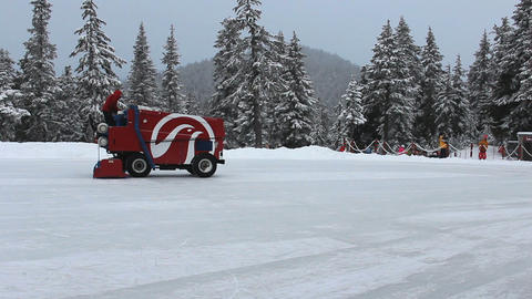 Outdoor Mountain Skating Rink Being Cleaned By Zam Footage