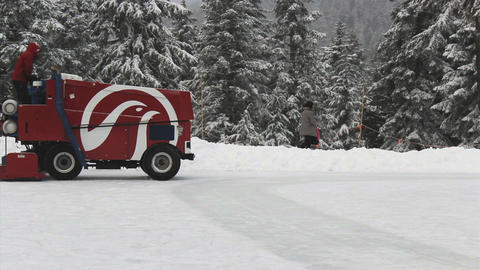 Zamboni Ice Cleaner On Outdoor Skating Rink Stock Video Footage