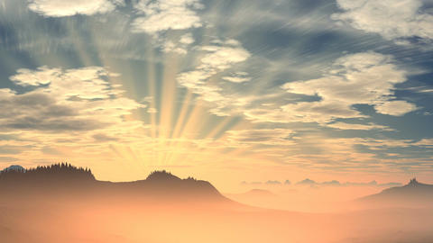 Radiant sunrise over the mountains Stock Video Footage