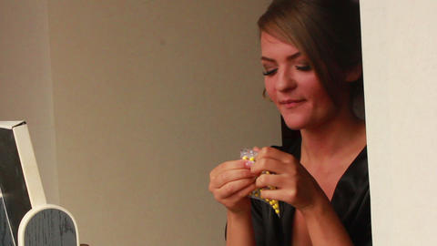 Girl Swallows a Pill and Drinks Water Stock Video Footage