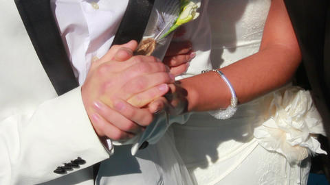 Newlyweds Holding Hands Footage
