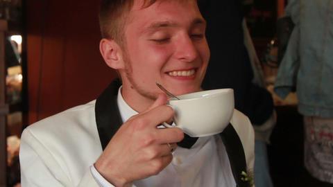 Man Drinking Tea Footage