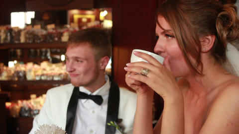Newlyweds in Caffe Footage