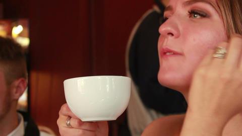 Woman Drinking Tea Stock Video Footage