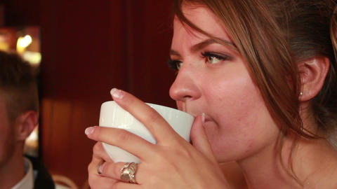 Woman Drinking Tea Stock Video Footage