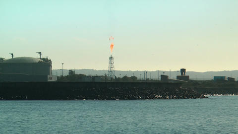 damping oil gas flare in petroleum refinery in sin Footage