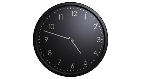 black wall clock looping Stock Video Footage