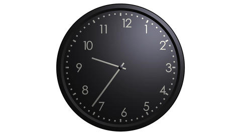 black wall clock looping Stock Video Footage