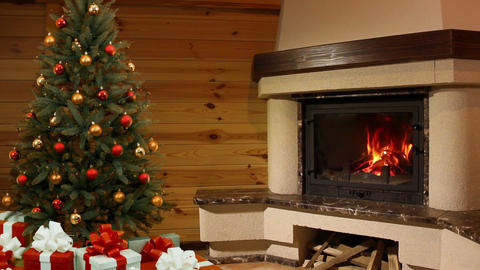 Christmas tree room. Fireplace Stock Video Footage