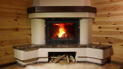 Fireplace. 3 shots Stock Video Footage