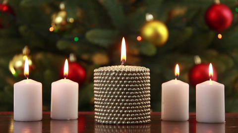 Christams set of candles Stock Video Footage