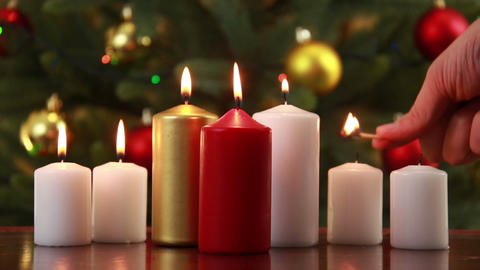 Christams candle set Stock Video Footage