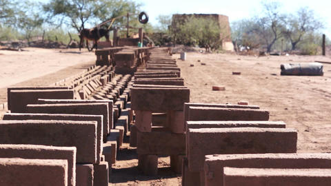 Adobe Brick Manufacturing Dolly Stock Video Footage