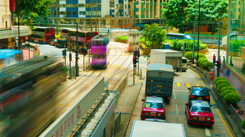4k (4096x2304) timelapse, Hong Kong roads traffic Stock Video Footage