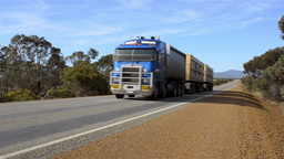 Road Train Travelling Down An Australian Highway Footage