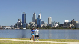 Exercising along the Swan River in Perth, Australi Footage