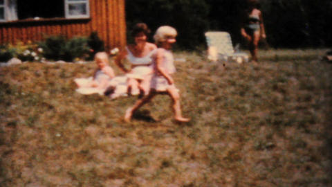 Attractive Ladies Sunbathing At The Cabin 1962 Stock Video Footage