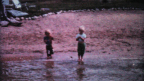 Kids Fishing In The Lake 1962 Vintage 8mm film Stock Video Footage