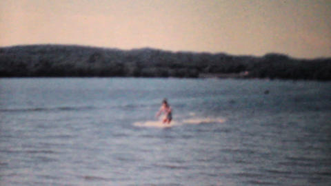 Smooth Ending To Water Skiing-1962 Vintage 8mm fil Stock Video Footage