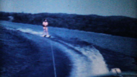 Teenage Girl Water Skiing On The Lake-1962 Vintage Stock Video Footage