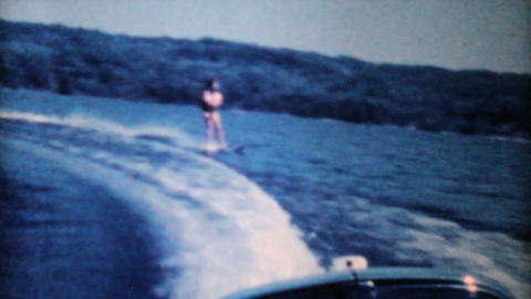 Teenage Girl Water Skiing On The Lake-1962 Vintage Footage