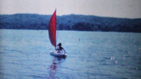 Women In Sailboat On Lake 1962 Vintage 8mm film Stock Video Footage