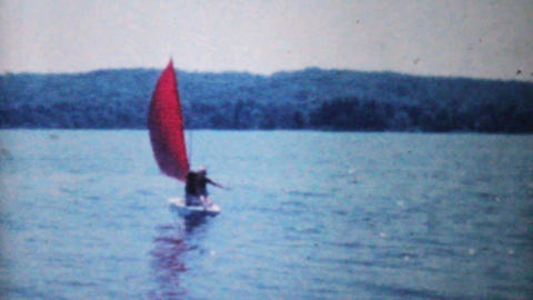 Women In Sailboat On Lake 1962 Vintage 8mm film Footage