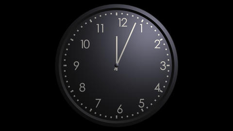 black wall clock looping with alpha Animation