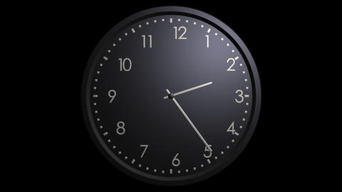 black wall clock looping with alpha Stock Video Footage