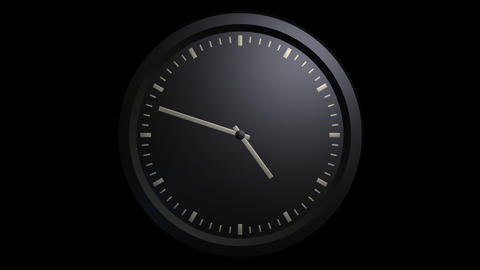 minimalist black clock timelapse with alpha Stock Video Footage