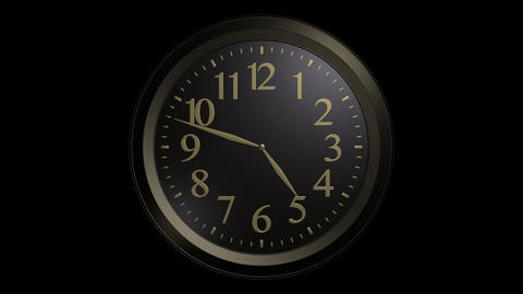 black gold wall clock with alpha Stock Video Footage